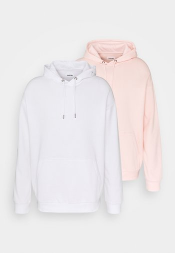 2 PACK UNISEX - Jersey con capucha - white/pink