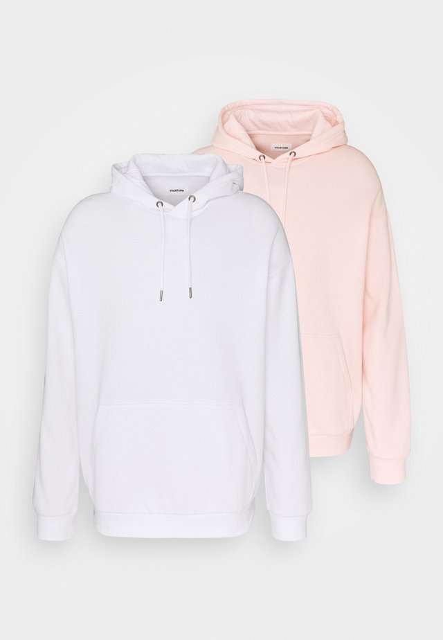 2 PACK UNISEX - Sweat à capuche - white/pink