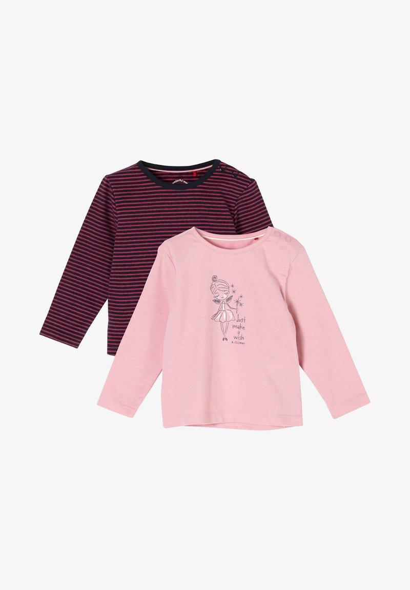 s.Oliver - 2 PACK  - Long sleeved top - pink stripes/light pink placed print