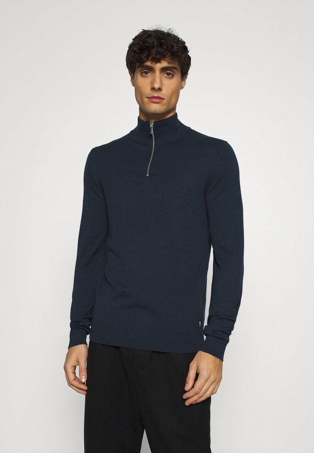 ZIPPED HIGH CREWNECK - Strikkegenser - sky captain blue