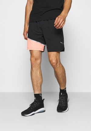 RUN LITE SHORT - Sports shorts - black/peach