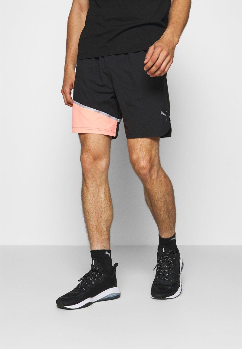 Puma - RUN LITE SHORT - Sports shorts - black/peach