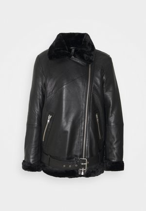YASALVA AVIATOR JACKET - Leather jacket - black