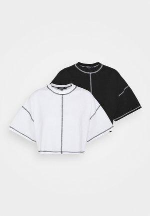 CONTRAST STITCH CROP TEE 2 PACK - Basic T-shirt - black/white