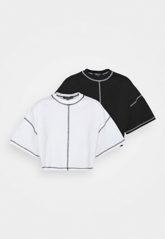 CONTRAST STITCH CROP TEE 2 PACK - T-shirt basic - black/white