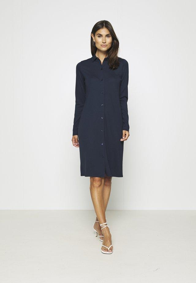 DRESS LONG SLEEVE COLLAR BUTTON PLACKET - Jerseyjurk - midnight blue