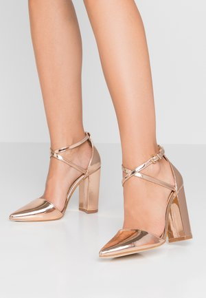 KATY - Højhælede pumps - rosegold metallic