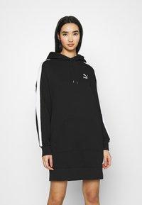 Puma - ICONIC HOODED DRESS - Day dress - black - 0