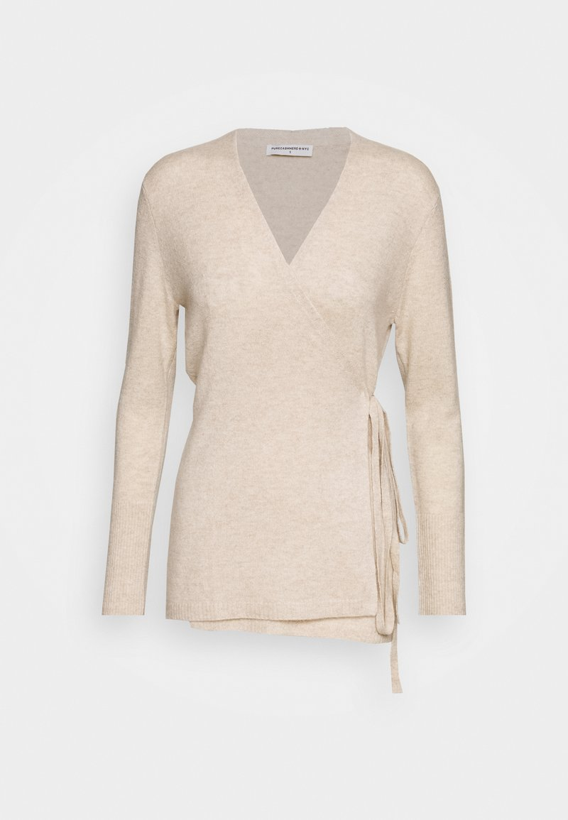 pure cashmere - WRAP CARDIGAN - Vest - oatmeal