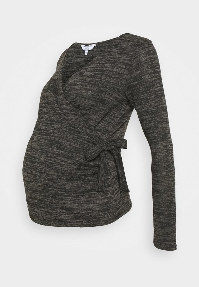 BRUSHED WRAP - Pullover - charcoal marl