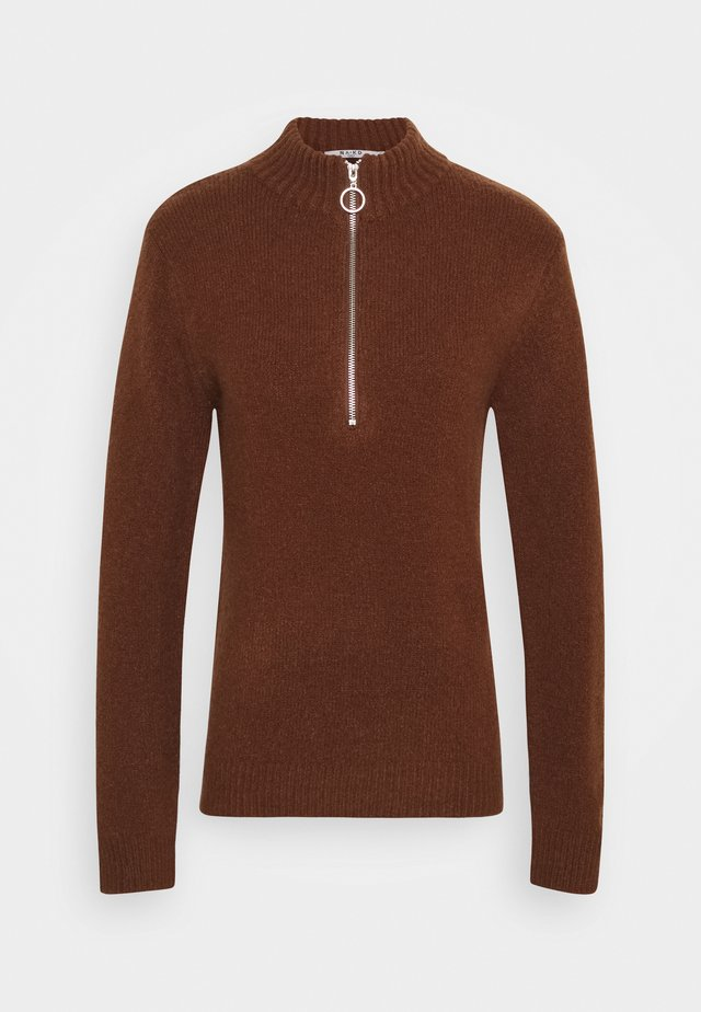ZIPPED COLLAR SWEATER - Pullover - brown