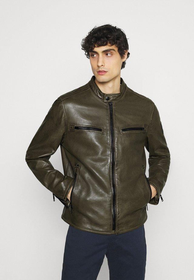 NORWICH - Kožená bunda - dark brown