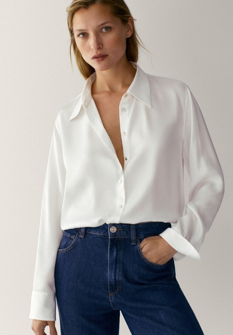 Massimo Dutti - IN SATINOPTIK - Button-down blouse - white