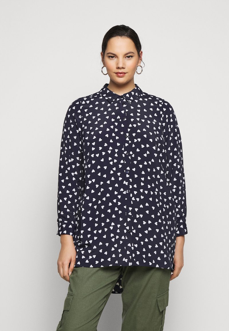 Evans - WITH HEART - Button-down blouse - navy