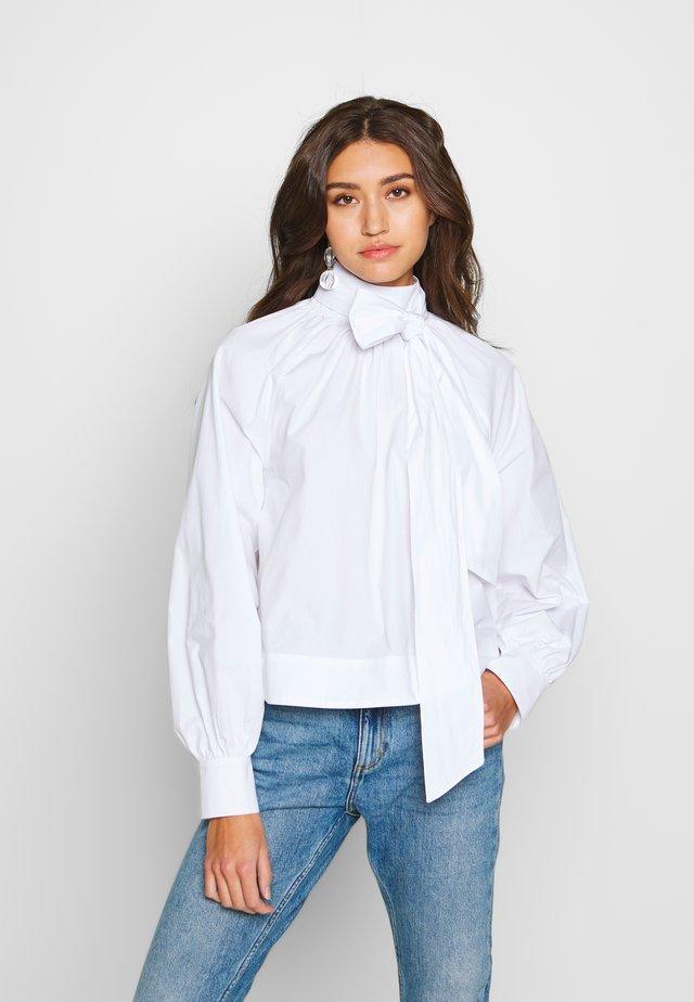 BALLOON SLEEVE BOW BOXY BLOUSE - Blusa - optical white