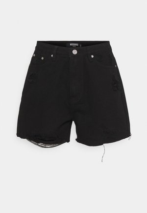 HEM DISTRESS - Denim shorts - black