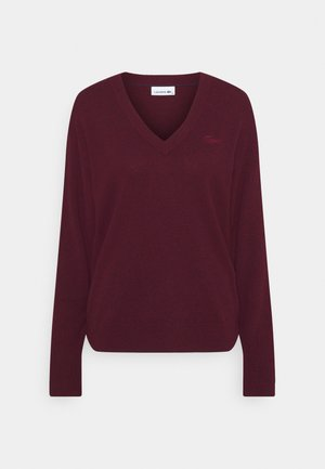 V BASIC PIPING DETAILS - Pullover - wine chine