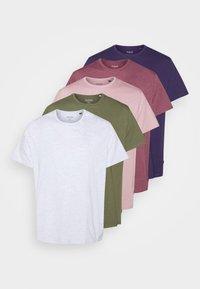 Burton Menswear London - BASIC 5 PACK - Basic T-shirt - purple/khaki/pink - 6