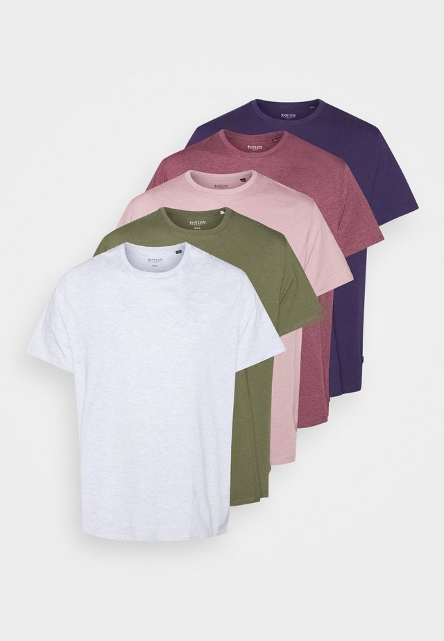 BASIC 5 PACK - Basic T-shirt - purple/khaki/pink