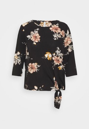 ONLNOVA LUX KNOT - Blusa - black/romantic flower