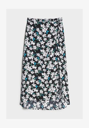 MIT BLUMENPRINT - A-line skirt - black