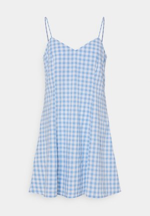 FAWN SLIP DRESS CHECK - Kjole - blue/white