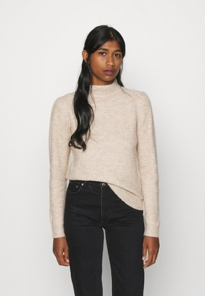 JDYGAMMY HIGH NECK - Strickpullover - beige melange