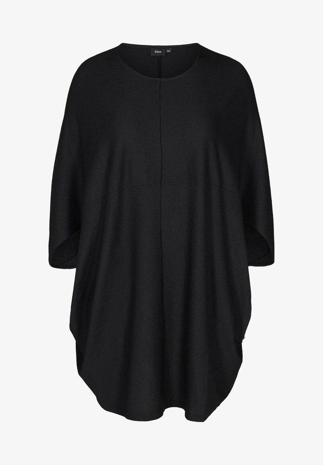 EINFARBIGES MIT STRUKTUR - Denní šaty - black
