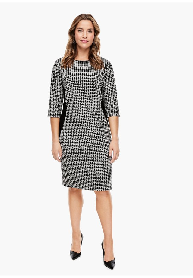 Jersey dress - black houndstooth aop