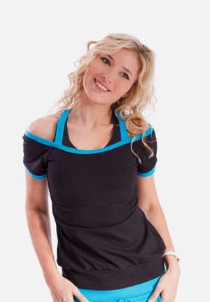 Print T-shirt - schwarz türkis