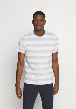 HEATHER STRIPE TEE - T-shirt z nadrukiem - white