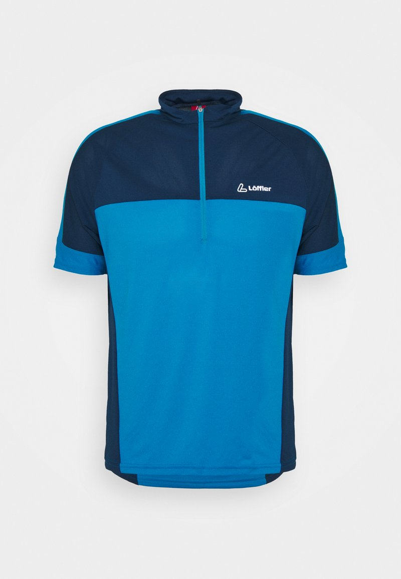 LÖFFLER - BIKE PACE - T-shirt z nadrukiem - blue lake