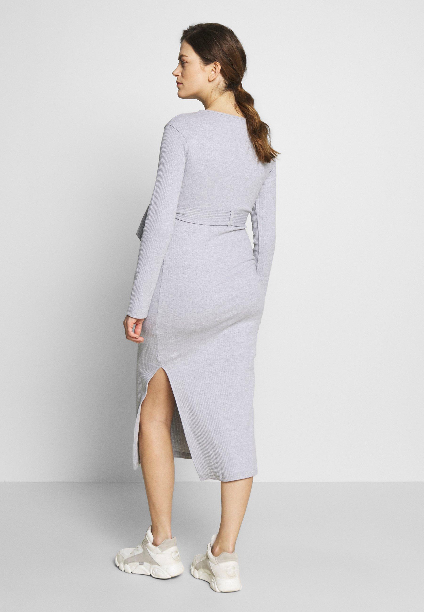 Missguided Maternity SOFT SPLIT SIDE BELTED DRESS Jerseykleid grey/grau