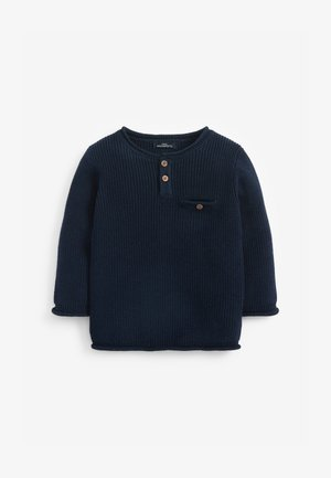 HENLEY BUTTON  - Jumper - dark blue