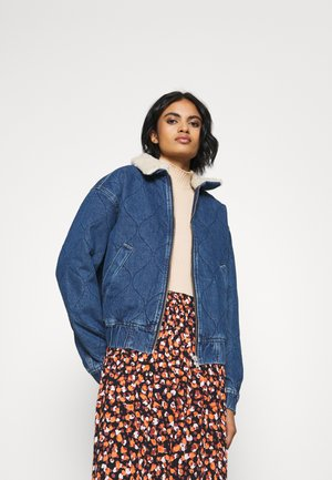 QUILTED HARRINGTON JACKET - Denim jacket - dark vintage