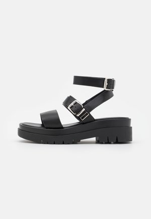 WIDE FIT WINTER - Korkeakorkoiset sandaalit - black
