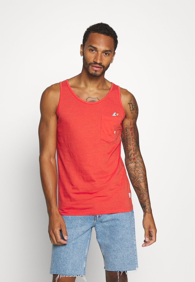 REVOLUTION - TANK WITH CHEST POCKET AND EMBROIDERY - Top - red