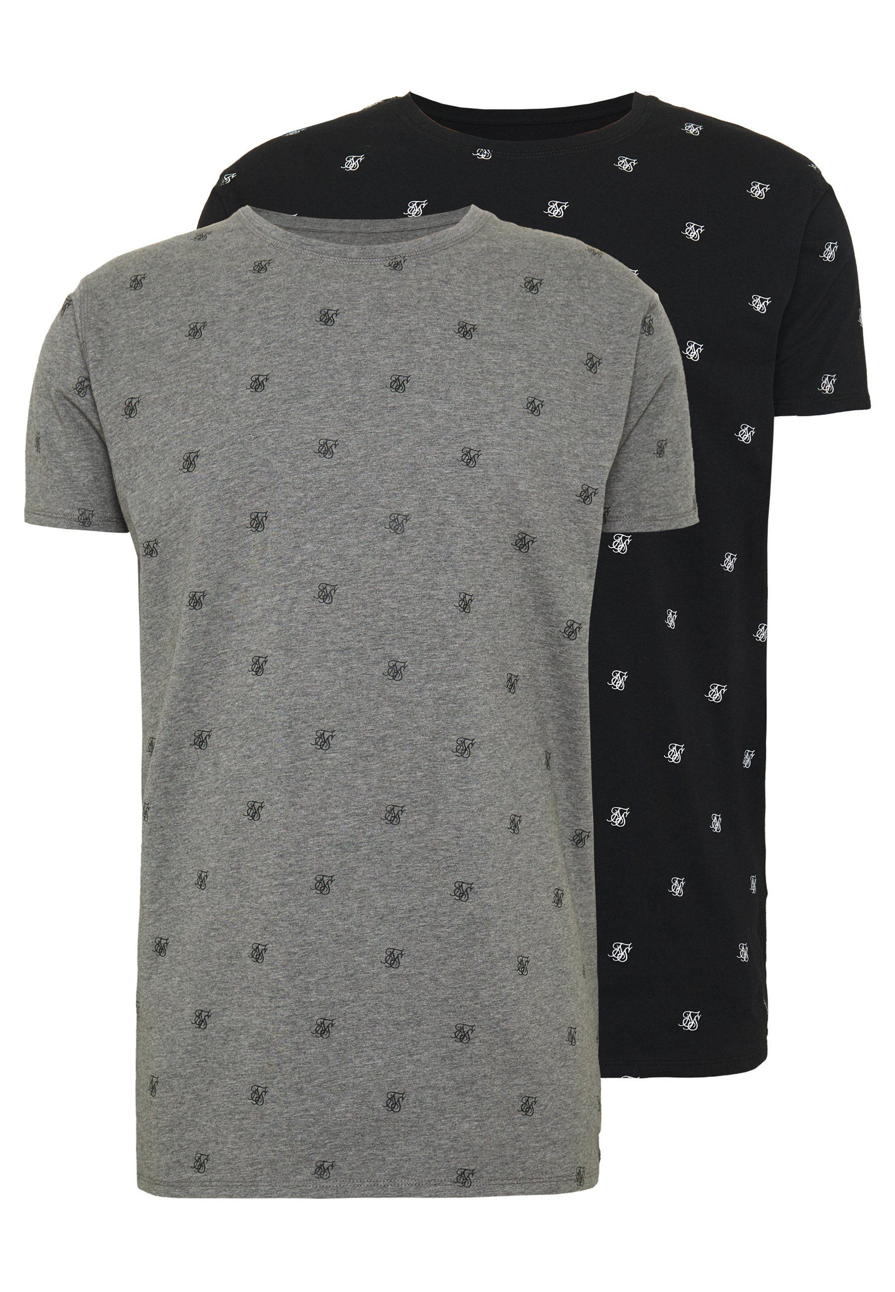 Siksilk Lounge Tee 2 Pack - T-shirts Med Print Black/grey/svart