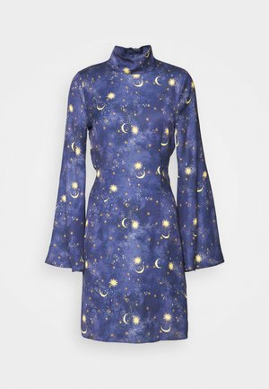 HIGH NECK MINI MOON AND STARS DRESS - Day dress - navy/multi