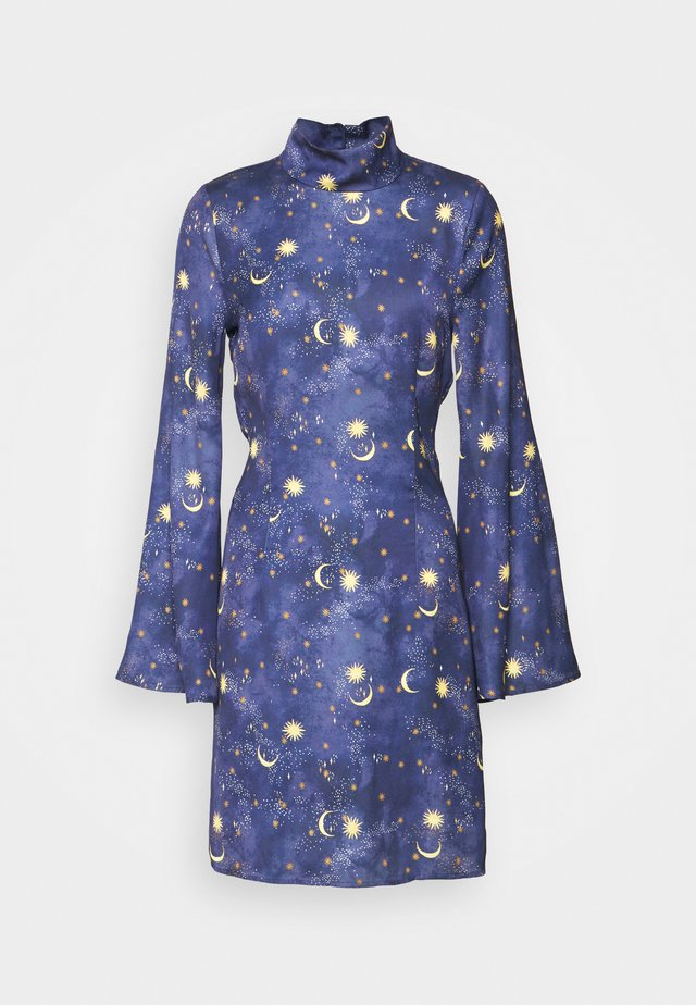 HIGH NECK MINI MOON AND STARS DRESS - Vapaa-ajan mekko - navy/multi