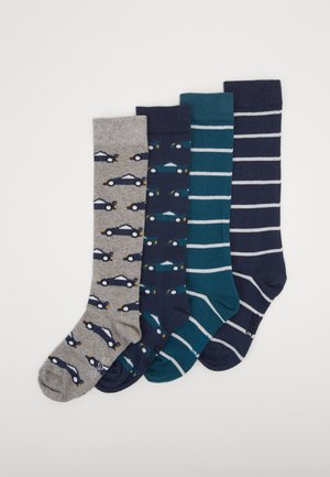 KIDS KNEESOCKS CARS STRIPES 4 PACK - Knæstrømper - grau
