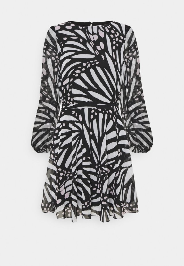 ELMA GRAPIC BUTTTERFLY DRESS - Korte jurk - black/white