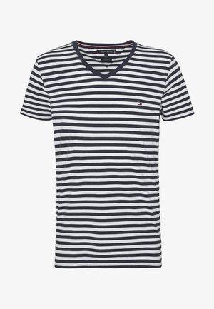 STRETCH V NECK TEE - Basic T-shirt - blue/white