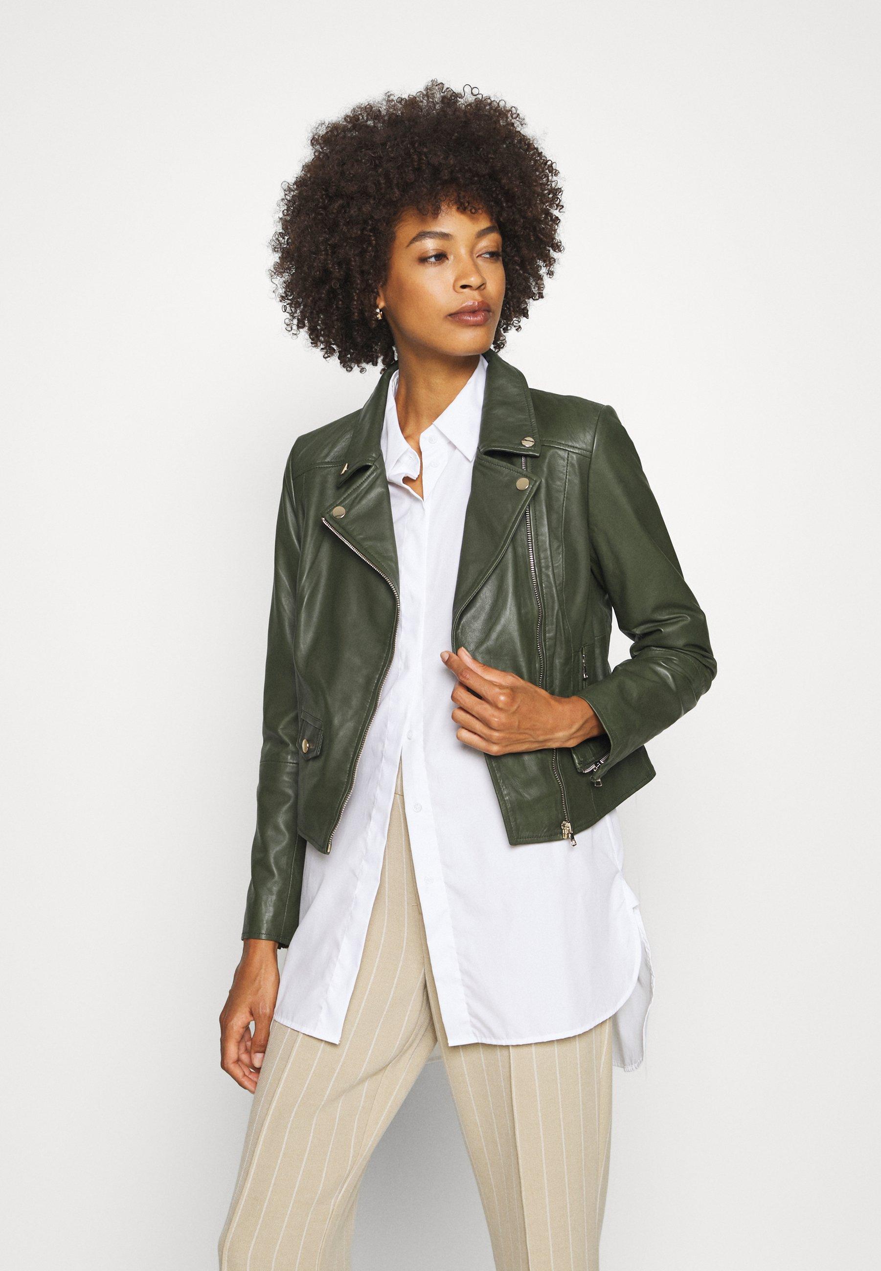FABIENNE Leren jas green