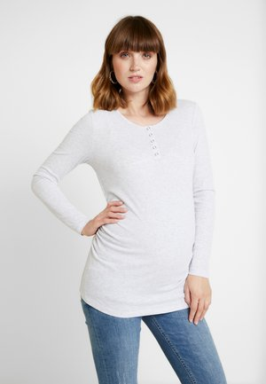 HENLEY SLEEVE - Long sleeved top - grey
