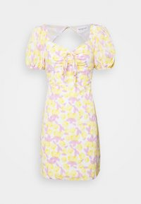 Glamorous - MAYA MINI DRESS WITH PUFF SHORT SLEEVES - Day dress - lemon lilac print - 3
