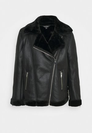 LONGLINE AVIATOR - Faux leather jacket - black