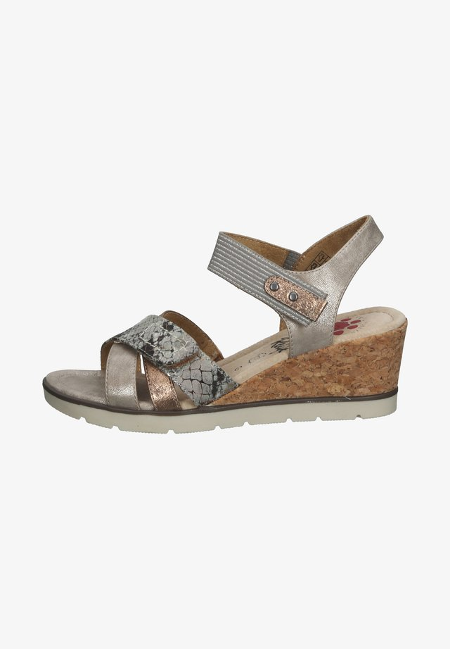 Sandalen met sleehak - marron clair smoke
