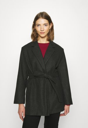 ONLTRILLION BELT COATIGAN - Classic coat - dark grey melange