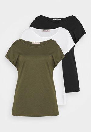 3 PACK - Basic T-shirt - black/white/khaki